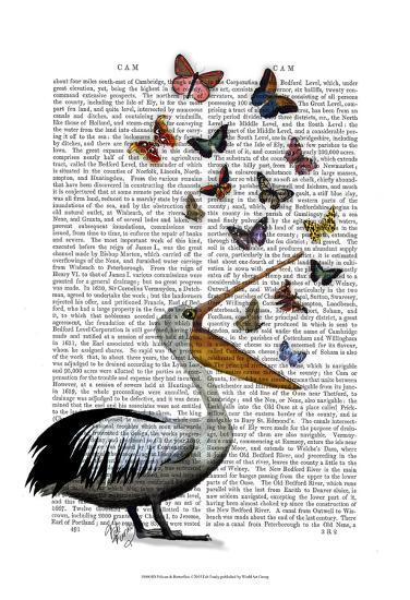 Pelican & Butterflies-Fab Funky-Art Print