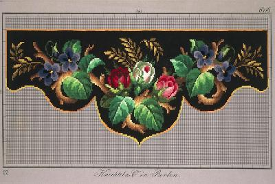 Pelmet Pattern with Roses, Violets and Ears of Wheat--Giclee Print