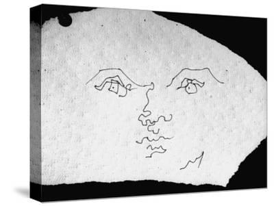 Pen and Ink Drawing of Face, Doodled on Napkin in Restuarant, by Jean Cocteau