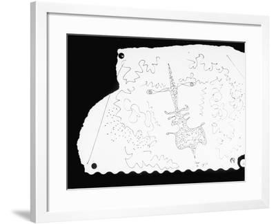 Pen and Ink Drawing of Face, Doodled on Napkin in Restuarant, by Jean Cocteau--Framed Photographic Print