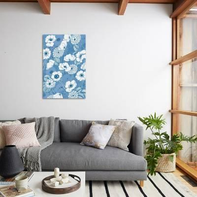 Incredible Pen And Ink Flowers On Blue Art Print By Wild Apple Portfolio Art Com Pdpeps Interior Chair Design Pdpepsorg