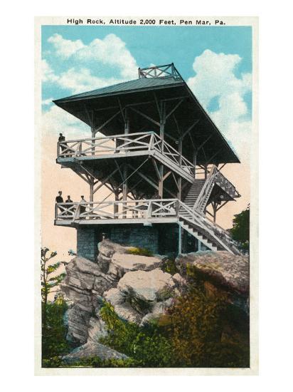 Pen Mar, Pennsylvania, View of High Rock and Tower-Lantern Press-Art Print
