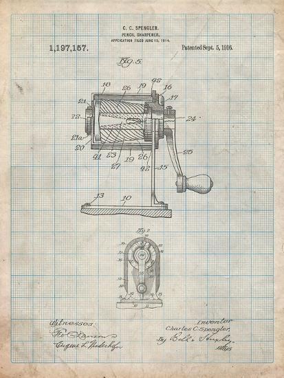 Pencil Sharpener Patent-Cole Borders-Art Print