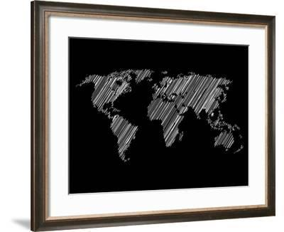 Pencile Scribble World Map 2-NaxArt-Framed Art Print