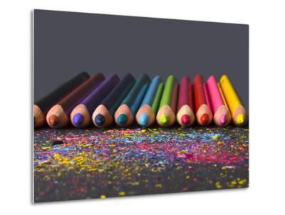 Pencils On Dark Background-vesnacvorovic-Metal Print