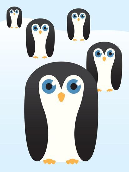 Penguin Cute Cartoon-pelonmaker-Art Print
