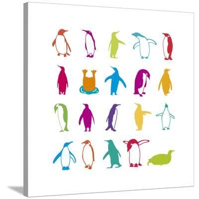 Penguin Fun-Clara Wells-Stretched Canvas Print