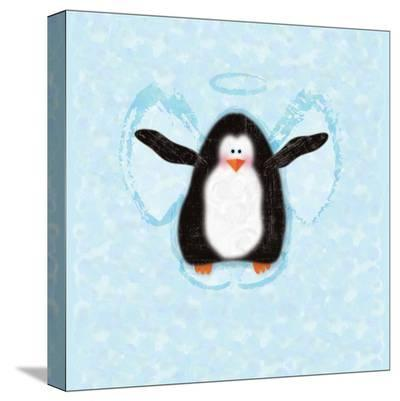 Penguin In Snow Angel-Janis Boehm-Stretched Canvas Print