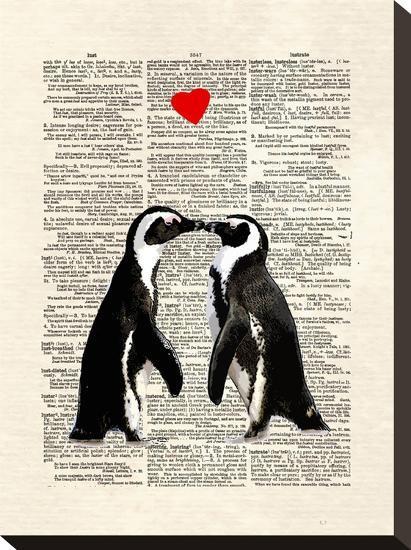 Penguin Lovers-Matt Dinniman-Stretched Canvas Print