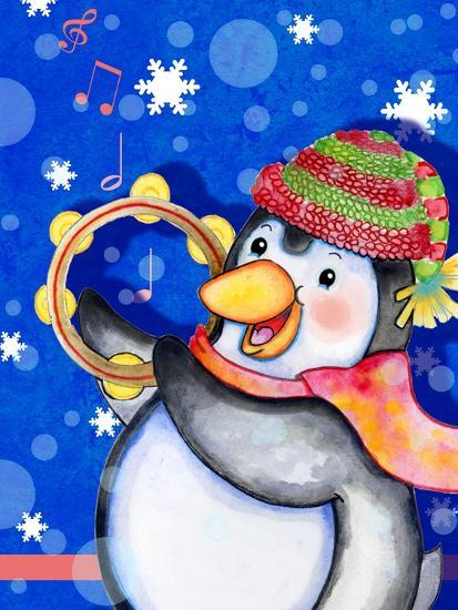 Penguin Tambourine-Valarie Wade-Giclee Print