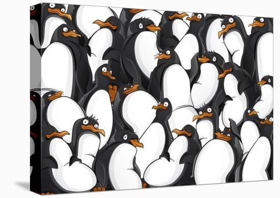 Penguins Pattern- YuanDen-Stretched Canvas Print