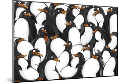 Penguins Pattern- YuanDen-Mounted Art Print