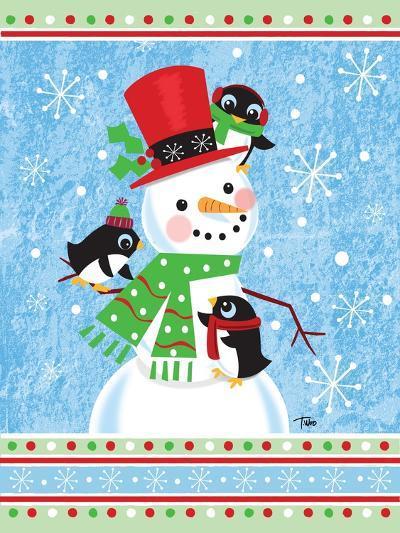 Penguins & Snowman-Teresa Woo-Art Print