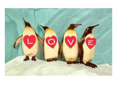Penguins Spelling Out Love--Art Print