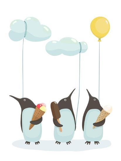 Penguins with Ice Cream. Illustration of Penguins Birds with Ice Cream. Vector Eps8-Popmarleo-Art Print