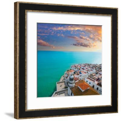 Peniscola Beach and Village Aerial View in Castellon Valencian Community of Spain-holbox-Framed Photographic Print