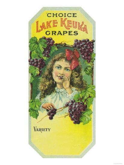 Penn Yan, New York - Variety Choice Lake Keuka Grapes Label-Lantern Press-Art Print