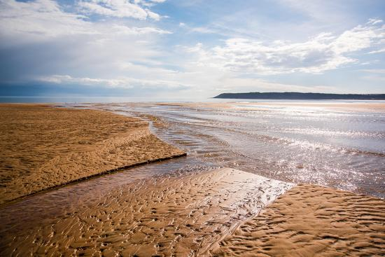 Pennard Pill Meets the Bristol Channel at Three Cliffs Bay, Gower, South Wales, UK-Nigel John-Photographic Print