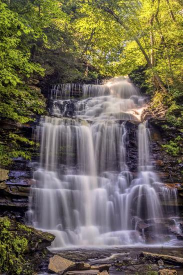 Pennsylvania, Benton, Ricketts Glen State Park  Ganoga Falls Cascade  Photographic Print by Jay O'brien | Art com