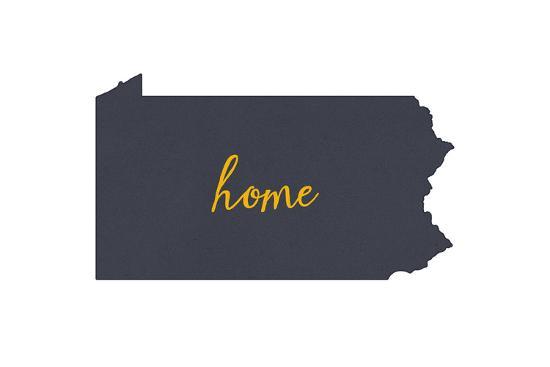 Pennsylvania - Home State - Gray on White-Lantern Press-Art Print