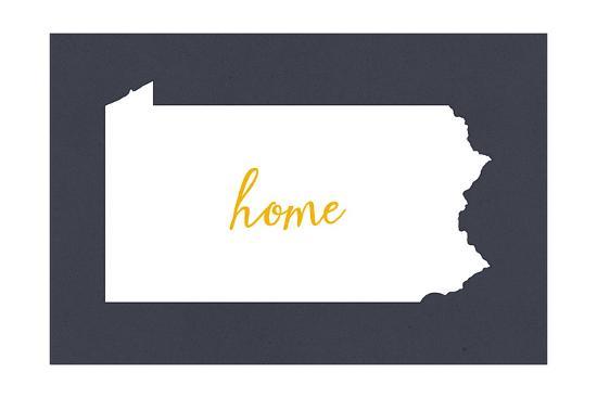 Pennsylvania - Home State - White on Gray-Lantern Press-Art Print