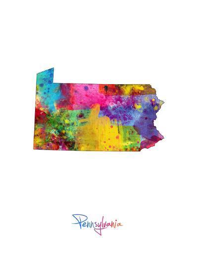 Pennsylvania Map-Michael Tompsett-Art Print