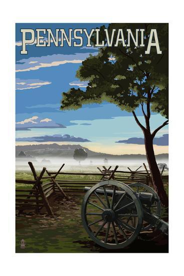 Pennsylvania - Military Park-Lantern Press-Art Print