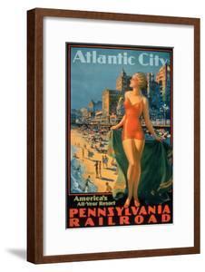 Pennsylvania Railroad Poster Promoting Travel to Atlantic City 'America's All Year Resort'