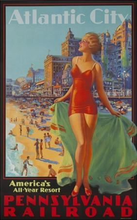 Pennsylvania Railroad Travel Poster, Atlantic City Bathing Beauty