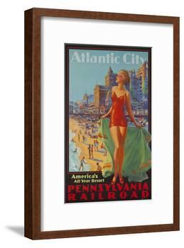 Pennsylvania Railroad Travel Poster, Atlantic City Bathing Beauty-null-Framed Giclee Print