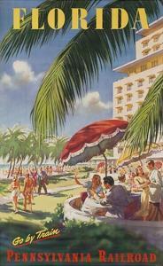 Pennsylvania Railroad Travel Poster, Florida Go by Train