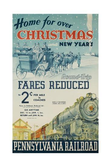 Pennsylvania Railroad Travel Poster, Home for Christmas--Giclee Print