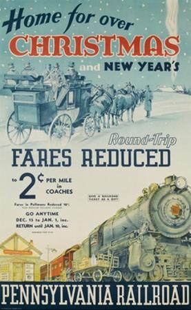 Pennsylvania Railroad Travel Poster, Home for Christmas