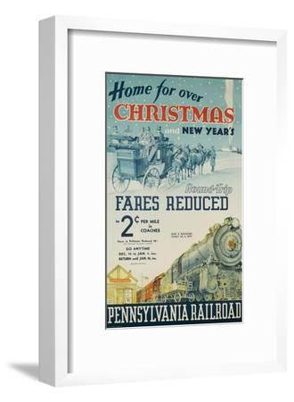 Pennsylvania Railroad Travel Poster, Home for Christmas