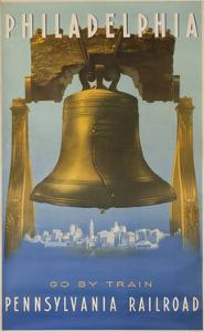 Pennsylvania Railroad Travel Poster, Philadelphia Go by Train, Libertybell