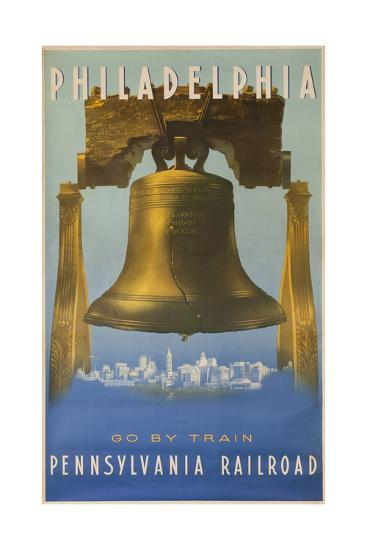 Pennsylvania Railroad Travel Poster, Philadelphia Go by Train, Libertybell--Giclee Print
