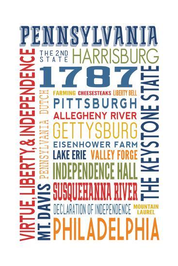 Pennsylvania - Typography-Lantern Press-Art Print