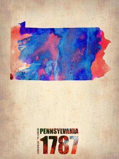Pennsylvania Watercolor Map-NaxArt-Art Print