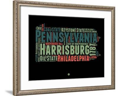 Pennsylvania Word Cloud 1-NaxArt-Framed Art Print