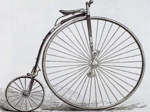 Penny-Farthing Bicycle. Engraving. 19th Century