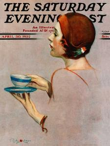 """""""Cup of Java,"""" Saturday Evening Post Cover, April 30, 1932 by Penrhyn Stanlaws"""