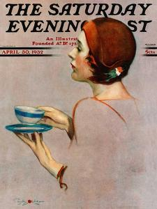 """Cup of Java,"" Saturday Evening Post Cover, April 30, 1932 by Penrhyn Stanlaws"