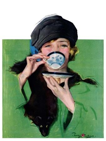 """Elegant Lady Drinking Cup of Tea,""February 20, 1926"