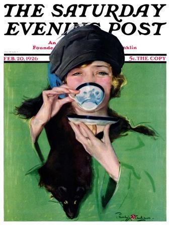 """Elegant Lady Drinking Cup of Tea,"" Saturday Evening Post Cover, February 20, 1926"