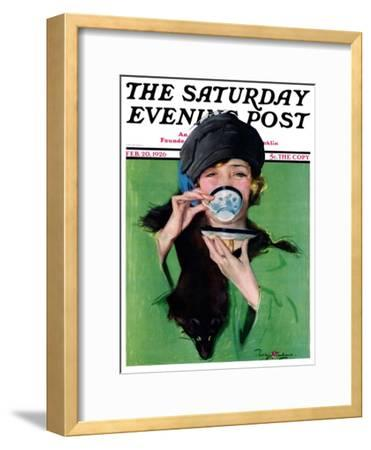 """""""Elegant Lady Drinking Cup of Tea,"""" Saturday Evening Post Cover, February 20, 1926"""