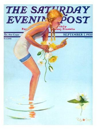 """Girl and Water Lilies,"" Saturday Evening Post Cover, September 7, 1935"