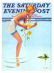 """""""Girl and Water Lilies,"""" Saturday Evening Post Cover, September 7, 1935 by Penrhyn Stanlaws"""