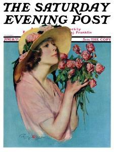 """""""Pink Rose Bouquet,"""" Saturday Evening Post Cover, June 18, 1927 by Penrhyn Stanlaws"""