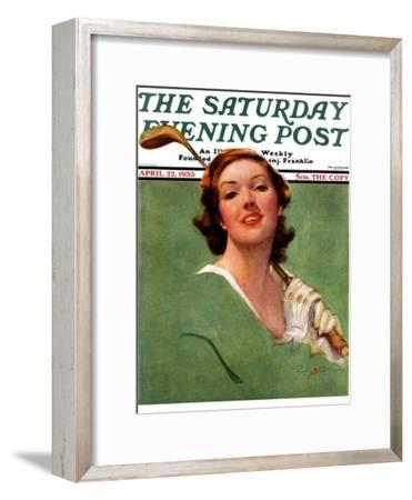 """""""Portrait of Lady Golfer,"""" Saturday Evening Post Cover, April 22, 1933"""