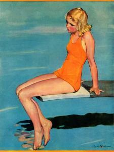 """""""Sitting on the Diving Board,""""August 19, 1933 by Penrhyn Stanlaws"""